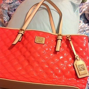 NWOT ANNE KLEIN Quilted Coral Tote w/ Buff Handles